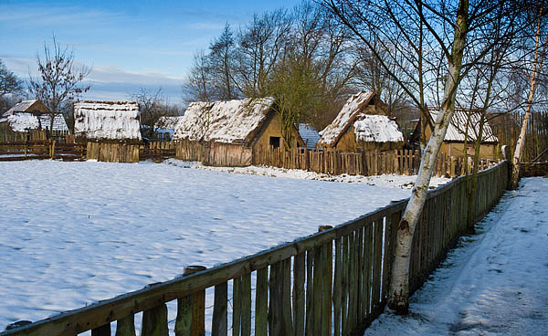 Danelaw Viking Village in snow - © 2017 - Gary Waidson - Ravenlore