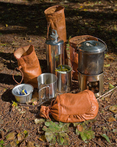 Stainless steel camping pans and bottles.