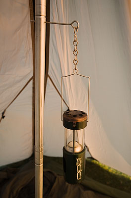 A simple modification of a tent pole to provide a hanging place for a lantern. - © 2017 - Gary Waidson - Ravenlore