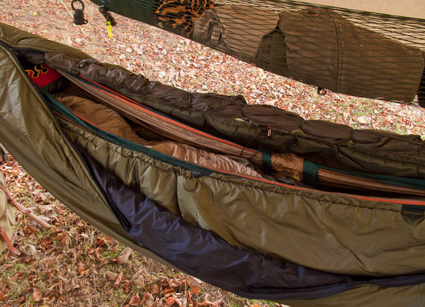 The hammock set up for deep winter conditions with an extra layer of insulation. - © 2017 - Gary Waidson - Ravenlore